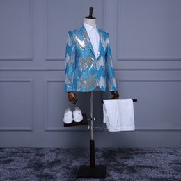 Men S Long Wedding Suit Canada - High Quality 2017 Blue Sequins Long Sleeves Wedding Party Groomsman Suit Blazer For Men