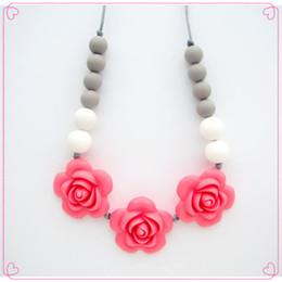 $enCountryForm.capitalKeyWord NZ - New Style!Pink Rose Silicone Teething Nursing Necklace - Flower Teething Beads, Rosette Necklaces, Girls Teething Necklaces, Baby Necklaces