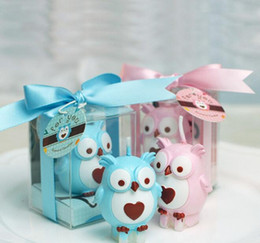 Wax Blue Canada - 10pcs Pink Blue Owl Candle Wedding Baby Shower Birthday Souvenirs Gifts Favor Packaged with PVC Box