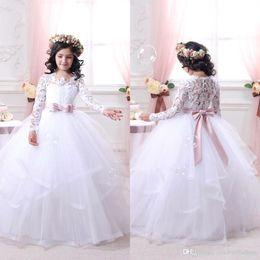 81f9398053d flower girl dresses ivory winter wedding 2019 - 2017 New Elegant Lace Long  Sleeves Flower Girls