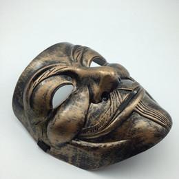 $enCountryForm.capitalKeyWord UK - Antique Copper V Mask Vendetta Mask Guy Fawkes Scary Fancy Dress Hip Hop Dance Costume Cosplay Anonymous Full Face Man Mask novelty gift