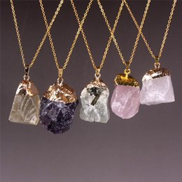 $enCountryForm.capitalKeyWord Canada - Smoky Quartz Green Prehnite Natural Stone Rough Gemstone Beads Necklace Amethyst Pick Colors Pink White Crystal Pendant Necklace Gold Plated