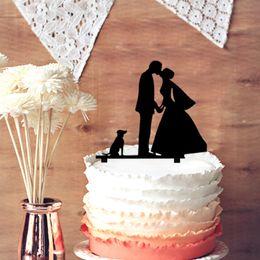 $enCountryForm.capitalKeyWord Canada - Romantic Wedding Cake Topper Bride and Groom Kiss with Pet Dog Silhouette, Family Wedding Anniversary Cake Decoration