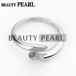 China Bulk of 3 Pieces Ring Blanks DIY Jewellery Making 925 Sterling Silver Ring Setting Pin Fits Round Pearls suppliers