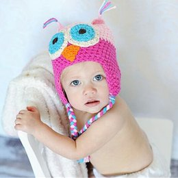 baby crochet owl UK - WINTER Hot sales Baby hand knitting owls hat Knitted hat Children's Caps 5 Color crochet hats for kids BOY AND GIRL HAT FREE SHIPPING