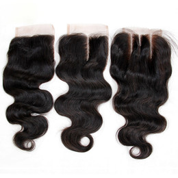 Brazilian Body Wave Virgin Human Hair Lace Closures Free Middle 3 Part Peruvian Malaysian Indian Cambodian Mongolian Hair Closure 4x4 Size on Sale