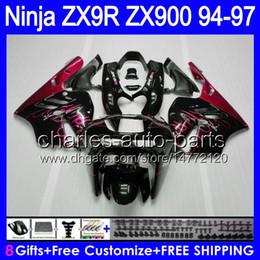 KawasaKi ninja zx9r 1997 online shopping - Red flames gifts Bodywork For KAWASAKI NINJA ZX9R ZX HM1 ZX R ZX900 ZX R Fairing Red black