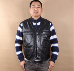 motorcycle vests 2019 - Men's Genuine Leather Motorcycle Vest No Patches Punk Vest Sleeveless Reporter Jacket Cow Leather Size L-6XL discou