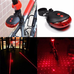 Discount bicycle laser beam - 200pcs Red 5 LED+ 2 Laser Beam MTB Mountain Bike Cycling Safety Bicycle Warning Flashing Bike Rear Tail Lamp Light ZA028