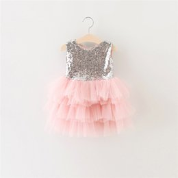 $enCountryForm.capitalKeyWord NZ - Girls Wedding Dresses Sequined New Lovely Princess Children Dress Sweet Baby Short Sleeveless Lace Rose Flower Kids Clothes For 2016 summer