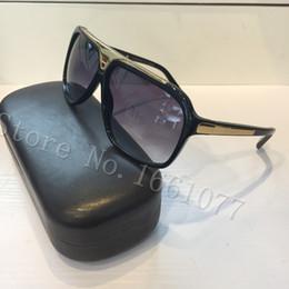 Envío gratuito de moda de lujo marca evidencia gafas de sol retro vintage hombres marca diseñador brillante marco de oro láser logotipo de las mujeres de calidad superior con caja