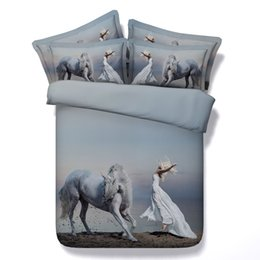 Horse Comforters Sets Canada - 3D Animal Horse Bedding Set Twin Full Queen King Size Cotton for Teens Girls Bedspreads Duvet Covers Pillow Shams Bed Quilts Comforter Sets