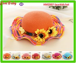 hats for big heads 2019 - Fashion crochet New Children's Straw Hat Girls Flowers Sun Hat Outdoor Big Sunflower Yellow Color 7colors For choos