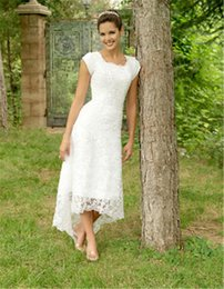 Square neck Sheath wedding dreSS online shopping - New Charming High Low Lace Wedding Dresses Short Sleeve Square Neck Short Front Long Back Simple Bridal Gowns Custom Made