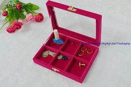 $enCountryForm.capitalKeyWord Canada - New 6 comparts Jewelry Ring Display Holder Tray for Girls Personal Decorations Storage Case with Glass Top in Rose Red Velvet