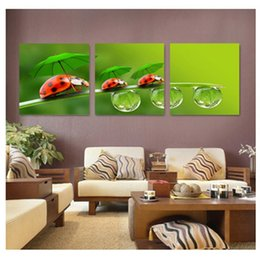 $enCountryForm.capitalKeyWord Canada - 3 Pieces lovely ladybug scenery oil painting modern fashion HD print landscape painting wall decoration for home living room