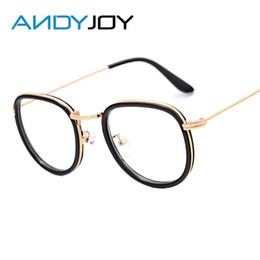 Discount metal myopia frame - Wholesale- ANDYJOY New Style Fashion Round Glasses Metal Quality Myopia Glasses Frames Vintage Plain Mirror Women Men Br