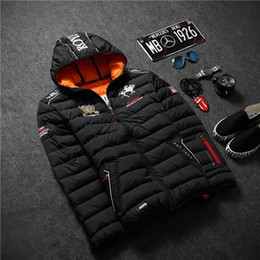 Mens Parka Leather Australia - 2016 mens winter warm downs jacket brand thick cotton embroidery men down parka coat printing black outdoor fashion sport hooded 64