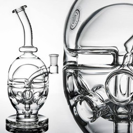 """Two Bowl Bongs NZ - 9.5"""" inches Skull Bong Faberge Egg water pipe Fab egg Glass bongs glass dab two functions dry bowl oil rig carb cap 14.4 mm free shipping"""