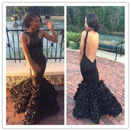 celebrity photos backless dresses 2019 - 2017 African Sexy Black Mermaid Prom Dresses Hand-made Flowers Train Backless Evening Celebrity Gowns Custom Made Sleeve
