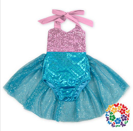 girl tutus one piece dress Canada - Europe Bontique Baby Kids One-piece Halter Rompers Dress Mermaid Tutu Skirt Suspender Jumpsuit Kids Children Sequins Climbing Clothing
