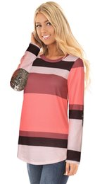 $enCountryForm.capitalKeyWord Canada - Autumn new blouse for lady striped T-shirts in fashion colorful panelled women tops round neck long sleeve elbow with sequins design OL-8722