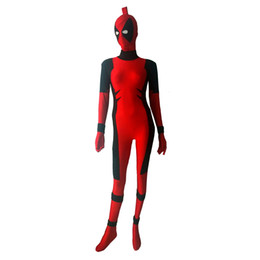Costume Lycra Spandex Rouge Pas Cher-Red Killer Queen Spandex Costume Lycra Prelude to Deadpool Corps Halloween Party cosplay Zentai