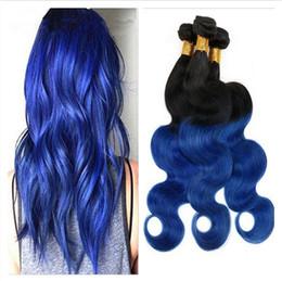 $enCountryForm.capitalKeyWord Canada - 9A Virgin Brazilian 1B Blue Ombre Human Hair 3Pcs Two Tone Ombre Hair Weave Body Wave Wavy Ombre Brazilian Human Hair Weave Bundles