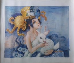 $enCountryForm.capitalKeyWord Canada - Free shipping hand-painted canvas oil painting #998 Modern figurative A little girl with deer for home dinning bedroom wall decoration