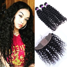 deep curly silk frontal UK - Malaysian Deep Curly Weaves With Silk Base Lace Frontal 13x4 Deep Curly Virgin Malaysian 3Bundles With Silk Top Frontals 4Pcs Lot