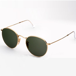 Hot Occhiali da sole da donna 50mm metal brand designer vintage retrò tondi classici occhiali da sole protezione uv380 Luxury Original occhiali freebox in Offerta