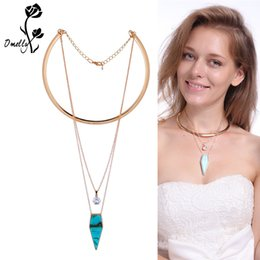 druzy crystals UK - Fashion Rock Real Crystal Turquoise Pendant 3 layer Necklace Druzy Natural Stone Crystal Necklaces For female