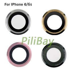 Wholesale Rear Camera Holder with Lens for iPhone S inch Back White gold Rose camea glass