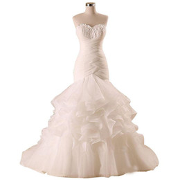 24w Plus Size Dresses For Wedding UK - Trumpet Cascading Ruffles with Feather Lace up Long Dress for Bride Plus Size Mermaid Wedding Dresses Organza Bridal Gowns