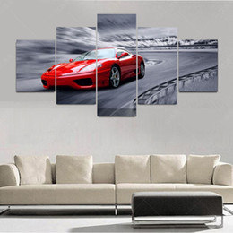 5 piece modern red sports car canvas oil painting art pintura wall pictures for living room cuadros decoracion picture no frame picture frames cars outlet