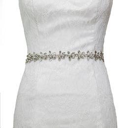 Chinese  2018 S96 Stock High-grade Handmade Luxury Bride Diamond Waist Belt Wedding Accessories Bridal belts and sashs manufacturers
