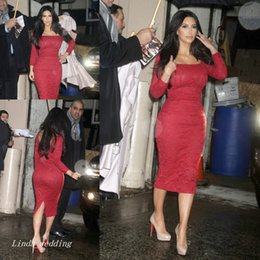 China Kim Kardashian Best Evening Dress High Quality Red Lace Tea Length Long Sleeves Special Occasion Dress Party Gown supplier kardashian evening red dresses suppliers