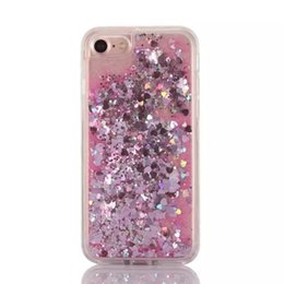 2018 skins move Fun Glitter Sand Quicksand Star Liquid Back PC Case Skin Cover Shell For Iphone 7 Iphone 7 plus Love heart moving capa c