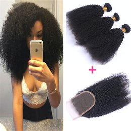$enCountryForm.capitalKeyWord NZ - Unprocessed Brazilian Afro Kinky Curly Virgin Hair With 4*4 Lace Closure 8A Kinky Curly Virgin Human Hair Weave Bundles 340G Lot