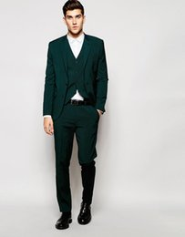 Gilet Vert Mince Homme Pas Cher-Vente en gros - 2017 Slim Jacket With Stretch In Green Groom Man Suit Smoking personnalisé Groomsman Suit Dinner Suit (veste + pantalon + veste)