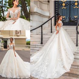 2018 потрясающий дизайнер свадебные платья с длинными рукавами Sheer иллюзия декольте полный кружева аппликация замочную скважину обратно суд поезд свадебные платья на Распродаже