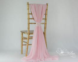 wholesales chair covers Canada - Custom Made 2016 Feminine Pink Chiffon Chair Covers Lace Chair Sashes Romantic Wedding Decorations Wedding Supplies