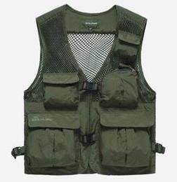 Polyester Vest Pockets For Men Canada - 50% OFF Free shipping High Quality Summer men's Vest Brand Multifunctional Quick Dry Mesh Vest Outdoor Casual Vest For Men 55hfx 188