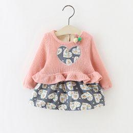 Little Girls Boutique Clothing Canada - Little Girls Ruffle Heart Dresses Plus Fleece 2017 Fall Winter Kids Boutique Clothing Little Girls Knit Top Long Sleeves Dresses