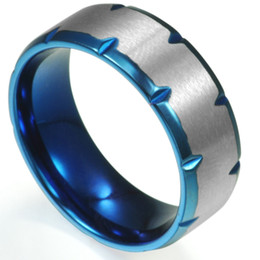 $enCountryForm.capitalKeyWord Canada - Size 7-15 Blue Titanium Stainless Steel Wedding Engagement Ring Band Matte Brushed Comfort Fit Father Dad Free Shipping