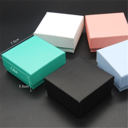 Wholesale Boxes Packaging Australia - 5 Different Color Jewelry Box Mostly For Earrings Ring Necklace Pendant Jewellery Packaging And Display 7.5X7.5X3.5cm