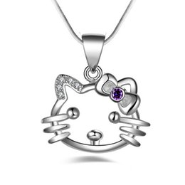 163df66f1 Hello Kitty cat charm Necklace Pendants hot brand New fashion popular  amethyst pendants 925 Sterling silver High quality jewelry