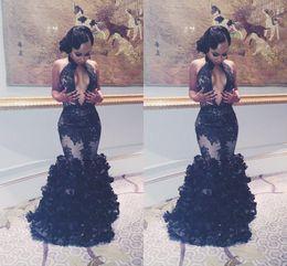 $enCountryForm.capitalKeyWord Australia - Sexy Middle Split Cut Away Black Lace Evening Dresses Halter Flouncing Ruffles Prom Dresses 2016 Mermaid Party Gowns