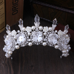 $enCountryForm.capitalKeyWord Australia - Luxury Silver Crystals Wedding Crowns Pearls Bridal Tiaras Rhinestones Head Pieces Headband Cheap Hair Accessories Pageant Crown