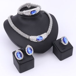 Blue Pearls Jewelry Set NZ - Luxury Europe Romantic Blue Gem Gold Plated Crystal Necklace Earrings Ring Bracelet Bridal Jewelry Sets For Women Wedding Party